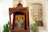 Outside the monastery church, Omodos