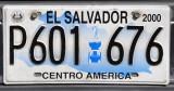 El Salvador License Plate (2000) with the statue of El Salvador Del Mundo
