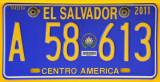 El Salvador - taxi license plate