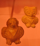 Zoomorphic shape whistles with representations of owls, Classic Period 250-900 AD