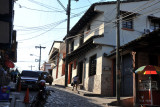 A hilly cobblestoned street in the old town, Copan Ruinas