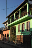 Airy green balcony on an old house, Copan Ruinas