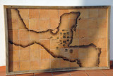 Tile map of Central America marking out major Mayan sites, El Cuartel