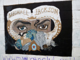Mural of Michael Jackson on the western wall of the Guatemala City Zoo