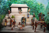 Diorama of a Mayan temple ceremony