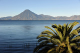 Early morning by the lake with a view of Volcán San Pedro, Panajachel