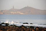 View from Pointe des Almadies to the African Renaissance Monument and Mamelles Lighthouse