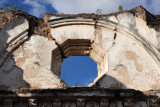 The octagonal frame of an upper window at La Recolección, Antigua Guatemala