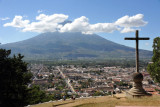 Volcan de Agua looming large to the south of Antigua Guatemala