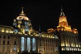 HSBC on the Bund with the old Customs House at night, Shanghai