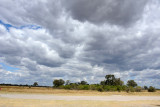 Setting out from Khwai River airstrip as the sky darkens