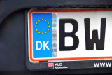 Danish license plate with the EU flag and DK