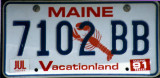 Maine License Plate (1991)