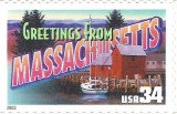 Greetings from Massachusetts USA Postage Stamp