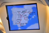 Display of the Spanish high-speed rail network (Línea de Alta Velodidad) showing present position