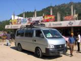 Express minibus to Kathmandu at a rest stop, Hotel Rajdhani