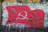 Nepal Communist banner painted on a wall along the Prithvi Highway