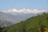 Ganesh Himal (7405m/24,294ft), Pabil (7110m/23,326ft), Lapsang Karbo (7429m/24,372ft) - from Prithvi Highway west of KTM