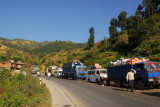 About 90 minutes west of Kathmandu, we came to a dead stop at a huge traffic jam