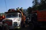 I found trucks were used to block the road by strikers protesting the government