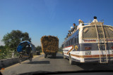 There's a wide variety of traffic on Nepali roads