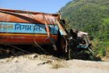Wrecked truck, Nepal