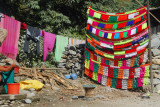Roadside stall with colorful yarn