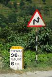 Nepal milestone - 6 km to Mugling, 96 to Pokhara