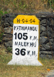 Nepali milestone, 105 km to Kathmandu