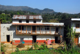 Traditional house with upper balcony, between Pokhara and Damauli
