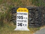 Nepali milestone near Mugling, 36km to Malekhu