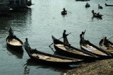Sampans, the gondolas of Dhaka, Bangladesh - in front of the Pink Palace in Old Dhaka