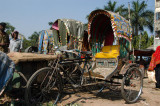 Rickshaws pulled up along the river, Old Dhaka