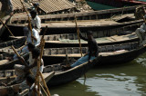 Sampans pulled up along the riverbank, Old Dhaka