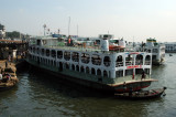 Big river boats at the Sadar Ghat Ferry Terminal, Dhaka