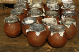 Pots of something on the quay at Sadar Ghat