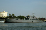 Auxiliary vessel of the Bangladeshi navy at the Shyampur dock just downstream of the Friendship Bridge on the left bank