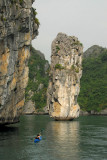 Free-standing limestone pillar, Halong Bay