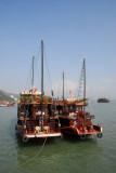 Two Halong Bay boats tied up, Bai Chay
