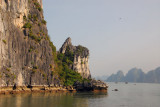 Passing close to one of the limestone islands, Halong Bay