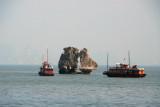 Long shot of Kissing Rocks Halong Bay