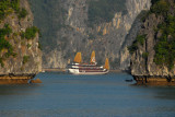 The largest tour boat we saw on Halong Bay, with 3 main decks