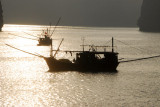 Fishing boats, silhouette, Halong Bay
