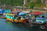 Fishing boats tied up at a floating village, Halong Bay