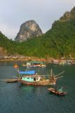 Fishing boat, floating village, Halong Bay