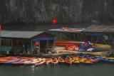 Rental kayaks at a floating village near Hang Sung Sot, Halong Bay
