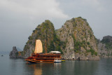 Large boat, Indochina Sails, with tender, Halong Bay