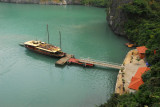 Boat pulled up to the drop off pier, Hang Sung Sot Cave, Halong Bay