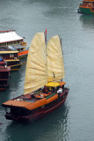 Lagoon Explorer with sails raised, Halong Bay