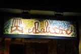 Sign El Balcone made of broken ceramic tiles (trencadís)
